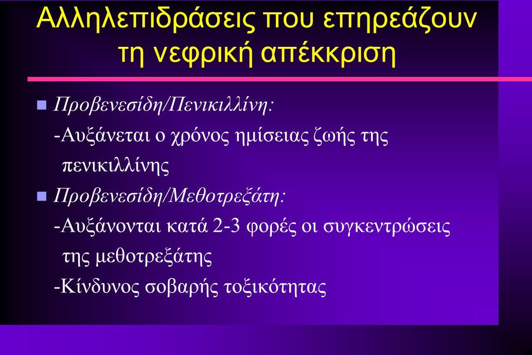 Αλληλεπιδράσεις που επηρεάζουν τη νεφρική απέκκριση n Προβενεσίδη/Πενικιλλίνη: -Αυξάνεται ο χρόνος ημίσειας ζωής της πενικιλλίνης n Προβενεσίδη/Μεθοτρ