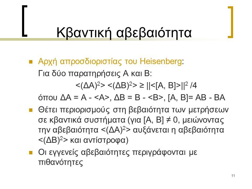 11 Κβαντική αβεβαιότητα Αρχή απροσδιοριστίας του Heisenberg: Για δύο παρατηρήσεις A και B: ≥ || || 2 /4 όπου ΔΑ = Α -, ΔΒ = Β -, [Α, Β]= ΑΒ - ΒΑ Θέτει