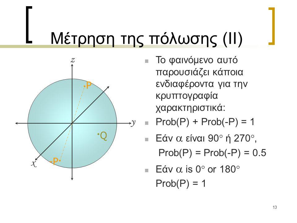 13 Μέτρηση της πόλωσης (II) Το φαινόμενο αυτό παρουσιάζει κάποια ενδιαφέροντα για την κρυπτογραφία χαρακτηριστικά: Prob(P) + Prob(-P) = 1 Εάν  είναι
