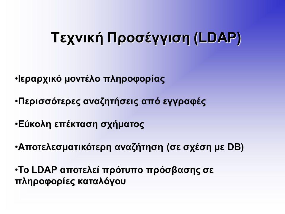 Τεχνική Προσέγγιση (LDAP) Ιεραρχικό μοντέλο πληροφορίας Περισσότερες αναζητήσεις από εγγραφές Εύκολη επέκταση σχήματος Αποτελεσματικότερη αναζήτηση (σε σχέση με DB) Το LDAP αποτελεί πρότυπο πρόσβασης σε πληροφορίες καταλόγου