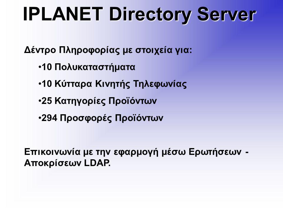 IPLANET Directory Server Δέντρο Πληροφορίας με στοιχεία για: 10 Πολυκαταστήματα 10 Κύτταρα Κινητής Τηλεφωνίας 25 Κατηγορίες Προϊόντων 294 Προσφορές Προϊόντων Επικοινωνία με την εφαρμογή μέσω Ερωτήσεων - Αποκρίσεων LDAP.