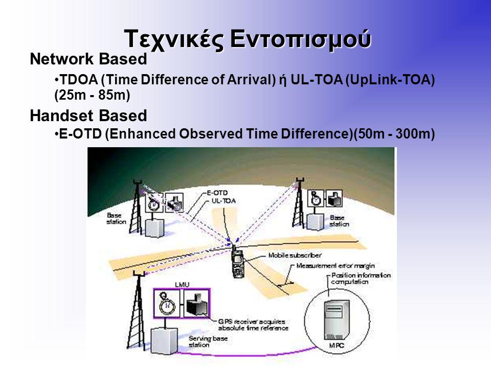 Τεχνικές Εντοπισμού Network Based TDOA (Time Difference of Arrival) ή UL-TOA (UpLink-TOA) (25m - 85m) Handset Based E-OTD (Enhanced Observed Time Difference)(50m - 300m)