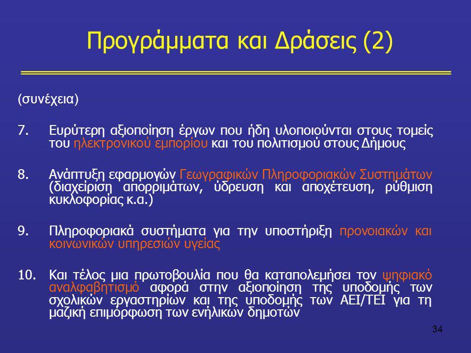 34 (συνέχεια) 7.Ευρύτερη αξιοποίηση έργων που ήδη υλοποιούνται στους τομείς του ηλεκτρονικού εμπορίου και του πολιτισμού στους Δήμους 8.Ανάπτυξη εφαρμ