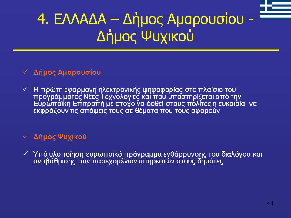 41 Δήμος Αμαρουσίου Η πρώτη εφαρμογή ηλεκτρονικής ψηφοφορίας στο πλαίσιο του προγράμματος Νέες Τεχνολογίες και που υποστηρίζεται από την Ευρωπαϊκή Επι