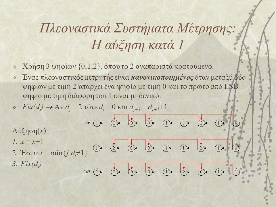 Πλεοναστικά Συστήματα Μέτρησης: Η αύξηση κατά 1  Χρήση 3 ψηφίων {0,1,2}, όπου το 2 αναπαριστά κρατούμενο.