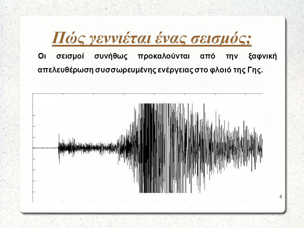 Γιατί αντιλαμβανόμαστε τους σεισμούς; Αντιλαμβανόμαστε το σεισμό επειδή μέρος της ενέργειας μεταφέρεται στην επιφάνεια της Γης με τα σεισμικά κύματα.