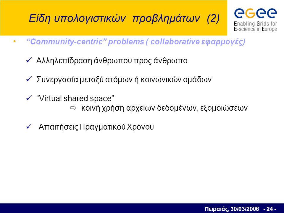 Πειραιάς, 30/03/2006 - 25 - High-throughput εφαρμογές Χωρισμός του προβλήματος σε πολλά διαφορετικά tasks ανεξάρτητα μεταξύ τους  Προγραμματισμός των tasks για εκτέλεση στο Grid σε ανενεργούς υπολογιστικούς πόρους @home εφαρμογές   
