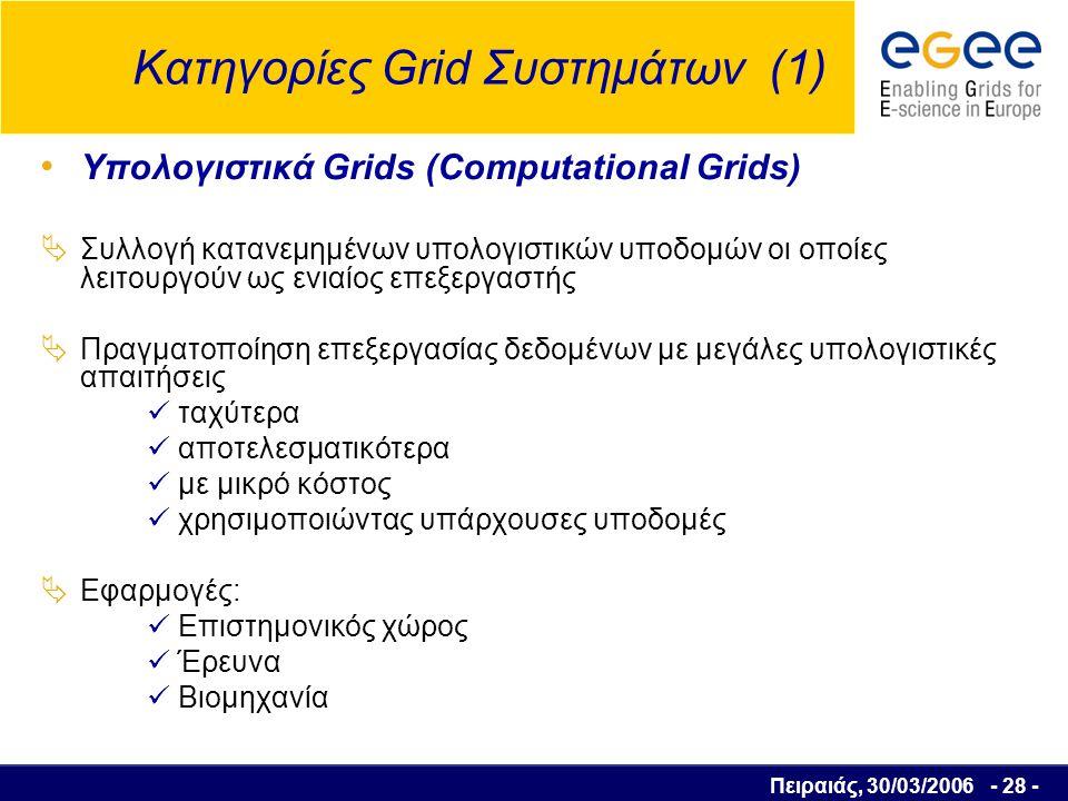 Πειραιάς, 30/03/2006 - 29 - Κατηγορίες Grid Συστημάτων (2) Grids Δεδομένων (Data Grids)  Οι χρήστες και οι εφαρμογές διαχειρίζονται πληροφορίες από βάσεις δεδομένων που βρίσκονται σε κατανεμημένες πλατφόρμες: εύκολα αποτελεσματικά  Μειωμένο κόστος γιατί δεν υπάρχει ανάγκη για μεταφορά, αντιγραφή και συγκέντρωση δεδομένων σε ένα κεντρικό σημείο  Αυξημένη αξιοπιστία κατά την πρόσβαση στα δεδομένα