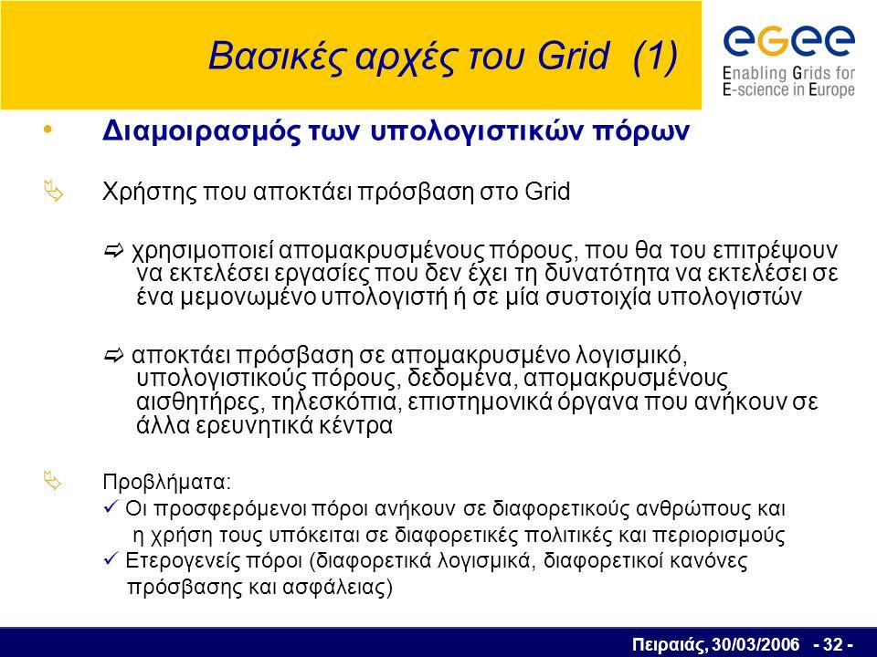Πειραιάς, 30/03/2006 - 33 - Βασικές αρχές του Grid (2) Ασφαλής πρόσβαση  Πολιτική Πρόσβασης (Access policy) Σαφής καθορισμός της πρόσβασης των προμηθευτών των πόρων και των χρηστών και υπό ποιες προϋποθέσεις  Ταυτοποίηση (Authentication) Μηχανισμός που εξακριβώνει ποια είναι η ταυτότητα των χρηστών και των πόρων  Εξουσιοδότηση (Authorization) Μηχανισμός που καθορίζει τις εργασίες που επιτρέπονται με βάση τους κανόνες που ισχύουν Προβλήματα:  Ασφάλειας στους υπολογιστές των Grid υποδομών  Στον τρόπο μεταφοράς των δεδομένων μέσω του διαδικτύου