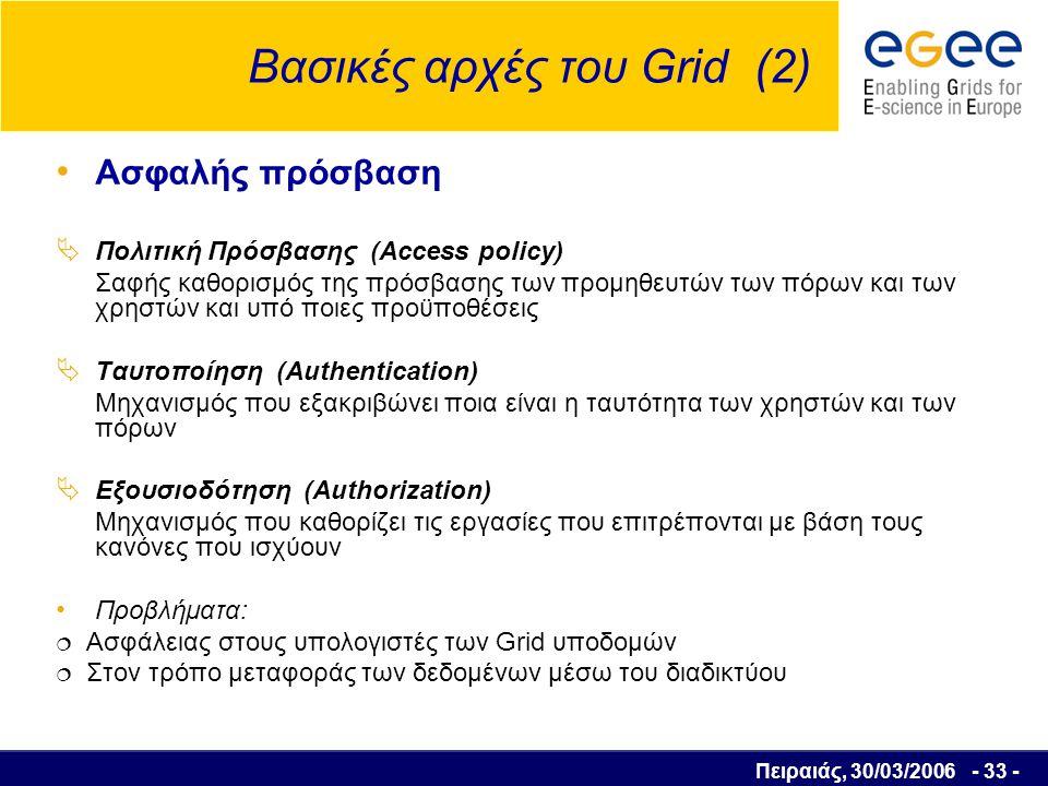 Πειραιάς, 30/03/2006 - 34 - Βασικές αρχές του Grid (3) Αποτελεσματική χρήση των πόρων Αύξηση του αριθμού των χρηστών  Ανεπάρκεια των υπολογιστικών πόρων  Δημιουργία ουρών αναμονής πριν την εκτέλεση μίας εργασίας  Ανάπτυξη αλγορίθμων για την βέλτιστη ανάθεση των εργασιών στους πόρους που διατίθενται  Βέλτιστη ανάθεση: Αριθμός εργασιών σε μία ουρά αναμονής Υπολογιζόμενος χρόνος για την εκτέλεση των εργασιών που προηγούνται Υπολογιστική ισχύς των πόρων