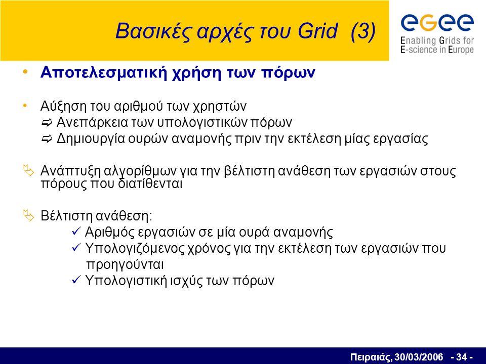 Πειραιάς, 30/03/2006 - 35 - Βασικές αρχές του Grid (4) Εξάλειψη της γεωγραφικής απόστασης  Απαιτούνται δίκτυα υψηλών ταχυτήτων για την διασύνδεση των πόρων ( οπτικές ίνες, ανάπτυξη των διαδικτυακών τεχνολογιών )  Χρόνος μεταφοράς των δεδομένων μεγάλος  Μη αποτελεσματική η επεξεργασία δεδομένων σε ισχυρότερους αλλά πολύ μακρινούς υπολογιστικούς πόρους  Μικρή καθυστέρηση στην επικοινωνία των μονάδων έτσι ώστε η συνεργασία να γίνεται σε πραγματικό χρόνο