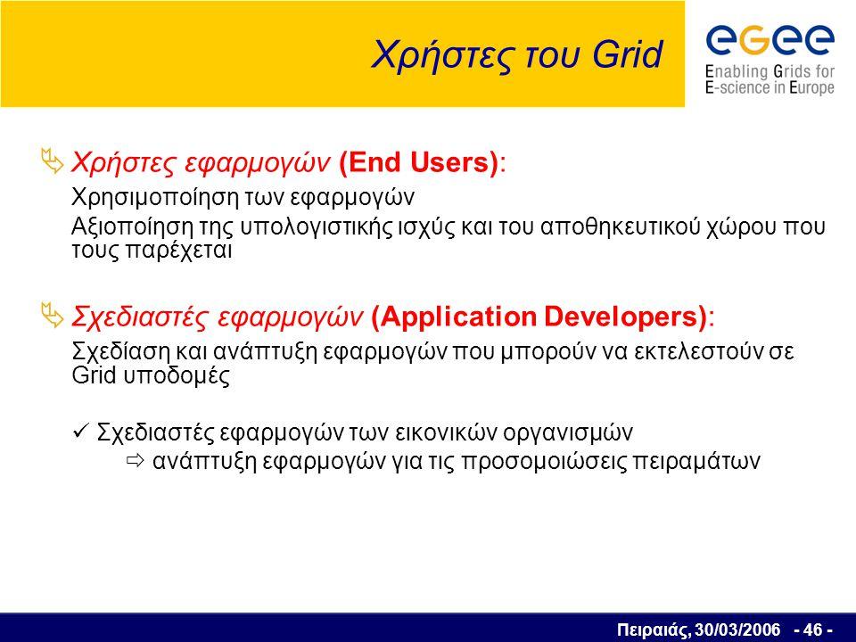 Πειραιάς, 30/03/2006 - 47 - Χρήστες του Grid  Διαχειριστές συστημάτων Grid (Grid Administrators): Διαχείριση των επιμέρους Grid υποδομών και εξασφάλιση της σωστής λειτουργίας τους.