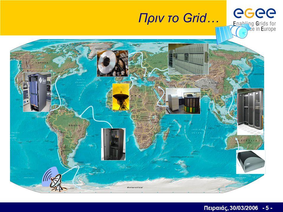 Πειραιάς, 30/03/2006 - 6 - Μετά το Grid… Grid Computing equates to the world s largest computer