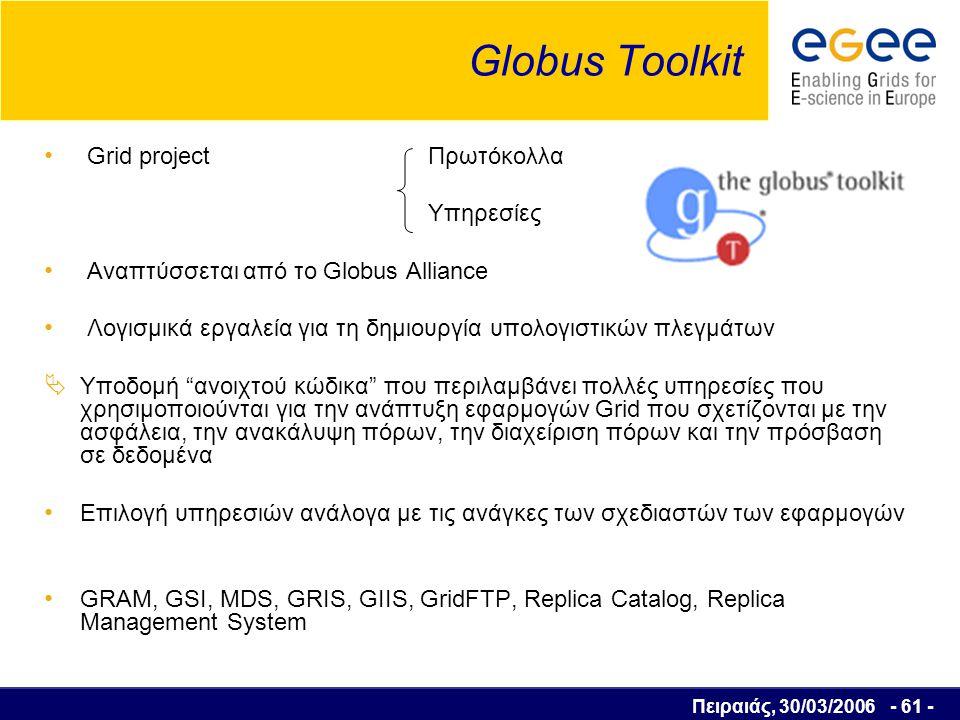 Πειραιάς, 30/03/2006 - 62 - User Interface (1) Επιτρέπει στους χρήστες να έχουν πρόσβαση στις λειτουργίες του Grid Οι χρήστες αποκτούν σε αυτό προσωπικό λογαριασμό και εγκαθιστούν το προσωπικό τους πιστοποιητικό Πύλη για τα Grid Services UI RB WN CE WN SE Υποβολή εργασίας