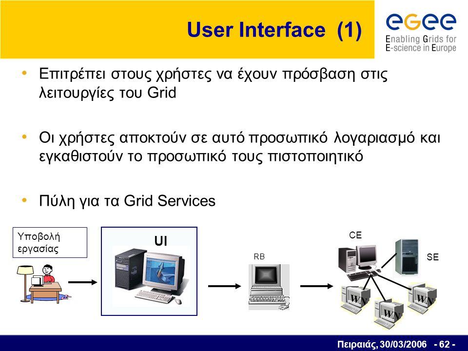 Πειραιάς, 30/03/2006 - 63 - User Interface (2) Παρέχει στο χρήστη ένα Command Line Interface για την υλοποίηση κάποιων βασικών λειτουργιών, όπως :  Εύρεση όλων των υπολογιστικών πόρων που είναι συμβατοί με τις απαιτήσεις μιας υποβαλλόμενης εργασίας  Υποβολή (submit) μίας εργασίας  Παρακολούθηση της πορείας εκτέλεσης της εργασίας  Ακύρωση μίας ή περισσοτέρων εργασιών  Ανάκτηση των πληροφοριών υποβολής μίας εργασίας  Λήψη της εξόδου μίας ή περισσοτέρων εργασιών που έχουν ολοκληρωθεί  Ανάκτηση των δεδομένων εξόδων από τις εργασίες που εκτελέστηκαν