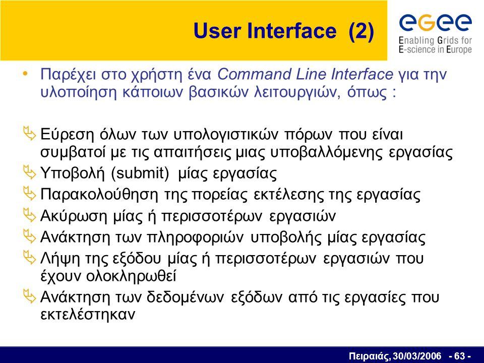 Πειραιάς, 30/03/2006 - 64 - Συστατικά κρυπτογράφησης Αλγόριθμος Κρυπτογρά- φησης Αλγόριθμος Αποκρυπτογρά- φησης Κακόβουλος χρήστης Καθαρό κείμενο Κρυπτοκείμενο (ciphertext) Κανάλι