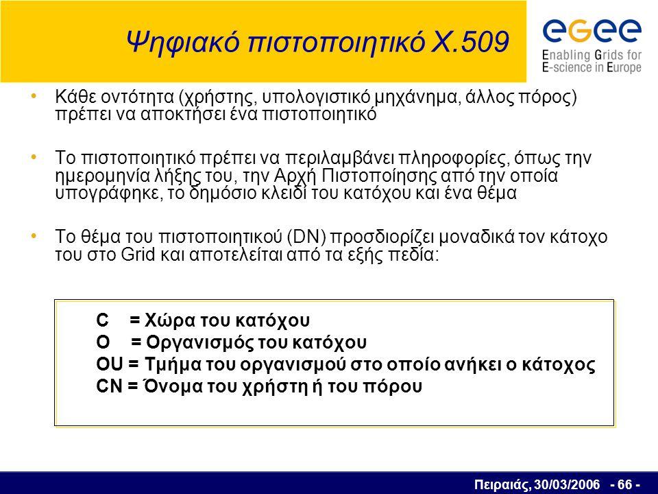 Πειραιάς, 30/03/2006 - 67 - Αρχή Πιστοποίησης (Certification Authority) Είναι ένα εμπιστευόμενο τρίτο μέλος, το οποίο: εκδίδει τα δημόσια κλειδιά πιστοποιεί τις πληροφορίες που περιέχονται σε ένα πιστοποιητικό υπογράφοντας το με το δικό της ιδιωτικό κλειδί Η υπογραφή της Αρχής Πιστοποίησης γίνεται μέρος του πιστοποιητικού, το οποίο μπορεί να επαληθευτεί με τη χρήση του δημοσίου κλειδιού της Αρχής Πιστοποίησης από οποιονδήποτε την εμπιστεύεται