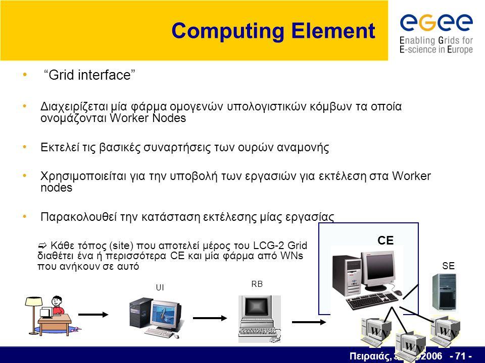 Πειραιάς, 30/03/2006 - 72 - Worker Node Κόμβοι για να εκτελούν τις εργασίες Απαιτείται μόνο μικρό μέρος του middleware για να είναι συμβατά με την τεχνολογία grid π.χ βιβλιοθήκες εφαρμογών Application Programming Interfaces (API) εντολές UI RB CE WN Υποβολή εργασίας SE