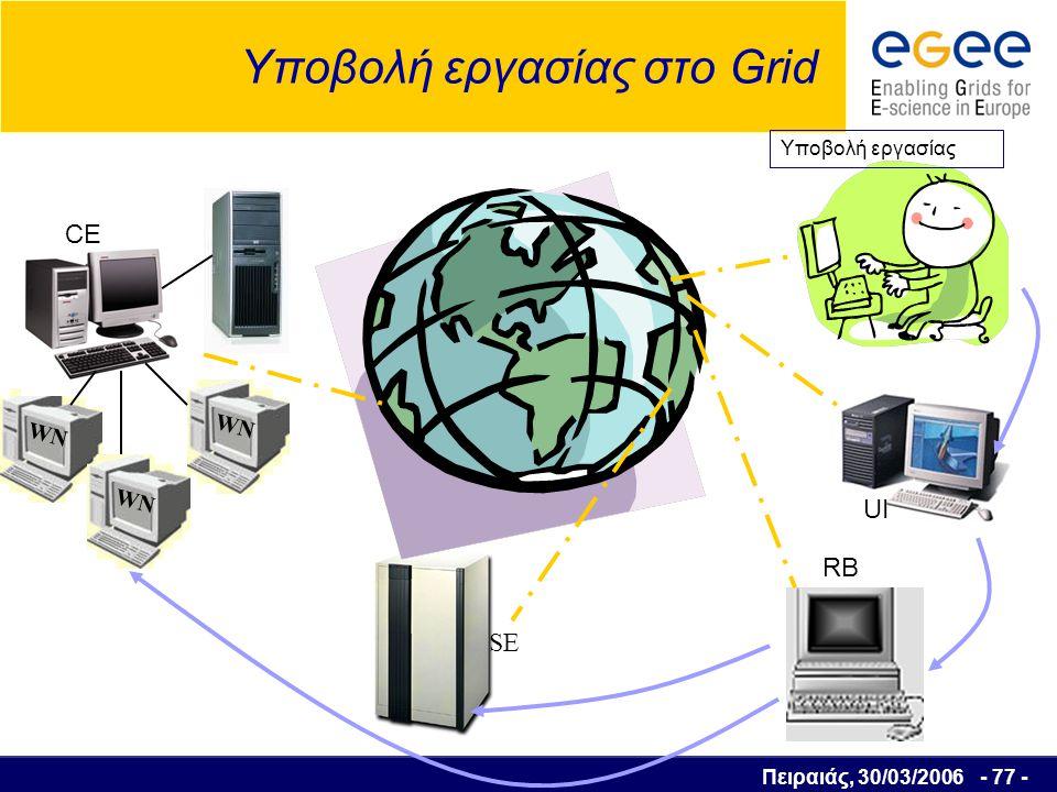 Πειραιάς, 30/03/2006 - 78 - Υποβολή εργασίας στο Grid WN SE RB WN Εργασία εκτελέστηκε UI CE