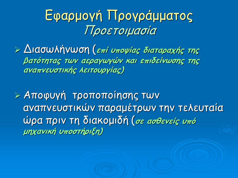 Εφαρμογή Προγράμματος Προετοιμασία  Διασωλήνωση ( επί υποψίας διαταραχής της βατότητας των αεραγωγών και επιδείνωσης της αναπνευστικής λειτουργίας) 