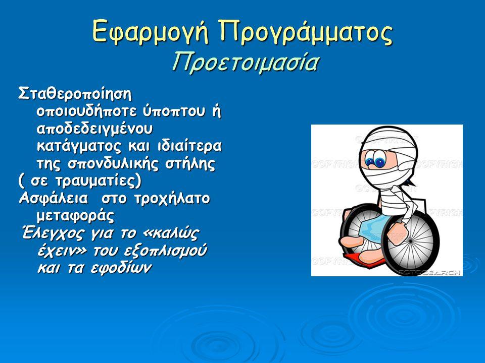 Εφαρμογή Προγράμματος Προετοιμασία Σταθεροποίηση οποιουδήποτε ύποπτου ή αποδεδειγμένου κατάγματος και ιδιαίτερα της σπονδυλικής στήλης ( σε τραυματίες