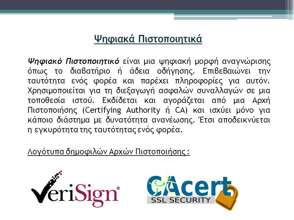 Ψηφιακό Πιστοποιητικό είναι μια ψηφιακή μορφή αναγνώρισης όπως το διαβατήριο ή άδεια οδήγησης.