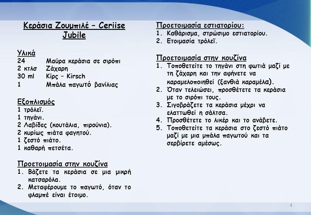 Κεράσια Ζουμπιλέ – Ceriise Jubile Υλικά 24Μαύρα κεράσια σε σιρόπι 2 κτλσΖάχαρη 30 mlΚίρς – Kirsch 1Μπάλα παγω τό βανίλιας Εξοπλισμός 1 τρόλεϊ. 1 τηγάν