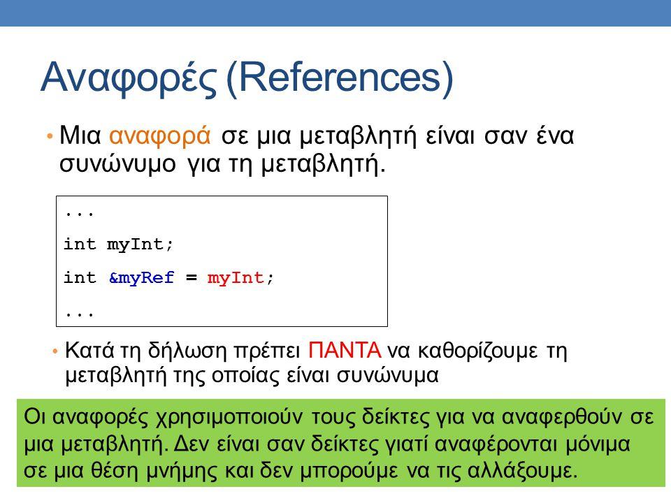 Αναφορές (References) Μια αναφορά σε μια μεταβλητή είναι σαν ένα συνώνυμο για τη μεταβλητή....
