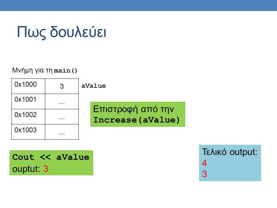 Πως δουλεύει 0x1000 3 0x1001 … 0x1002 … 0x1003 … aValue Μνήμη για τη main() Επιστροφή από την Increase(aValue) Cout << aValue ouptut: 3 Τελικό output: 4 3