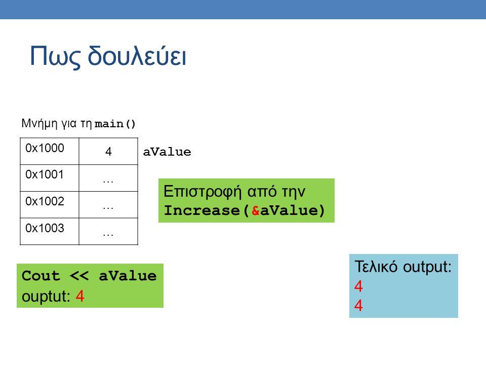 Πως δουλεύει 0x1000 4 0x1001 … 0x1002 … 0x1003 … aValue Μνήμη για τη main() Eπιστροφή από την Increase(&aValue) Cout << aValue ouptut: 4 Τελικό output: 4