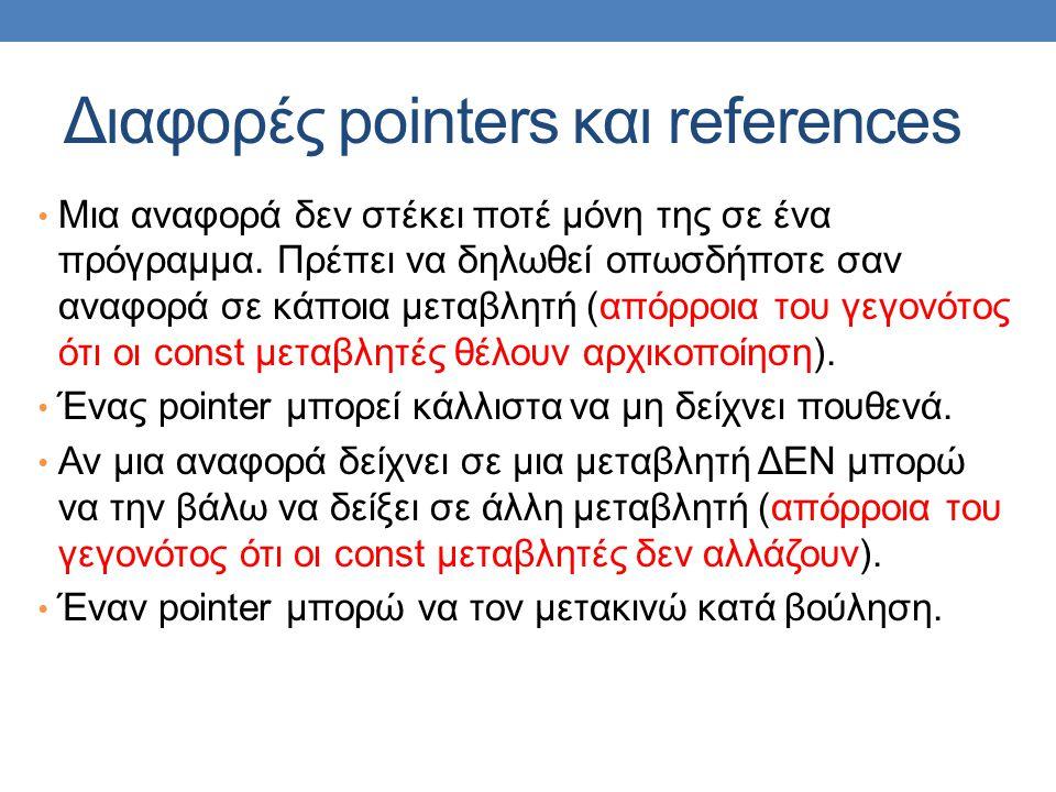 Διαφορές pointers και references Μια αναφορά δεν στέκει ποτέ μόνη της σε ένα πρόγραμμα.