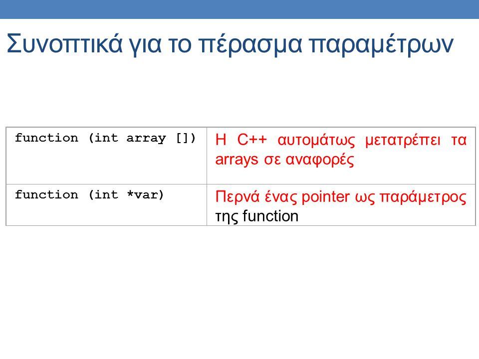 function (int array []) H C++ αυτομάτως μετατρέπει τα arrays σε αναφορές function (int *var) Περνά ένας pointer ως παράμετρος της function Συνοπτικά για το πέρασμα παραμέτρων