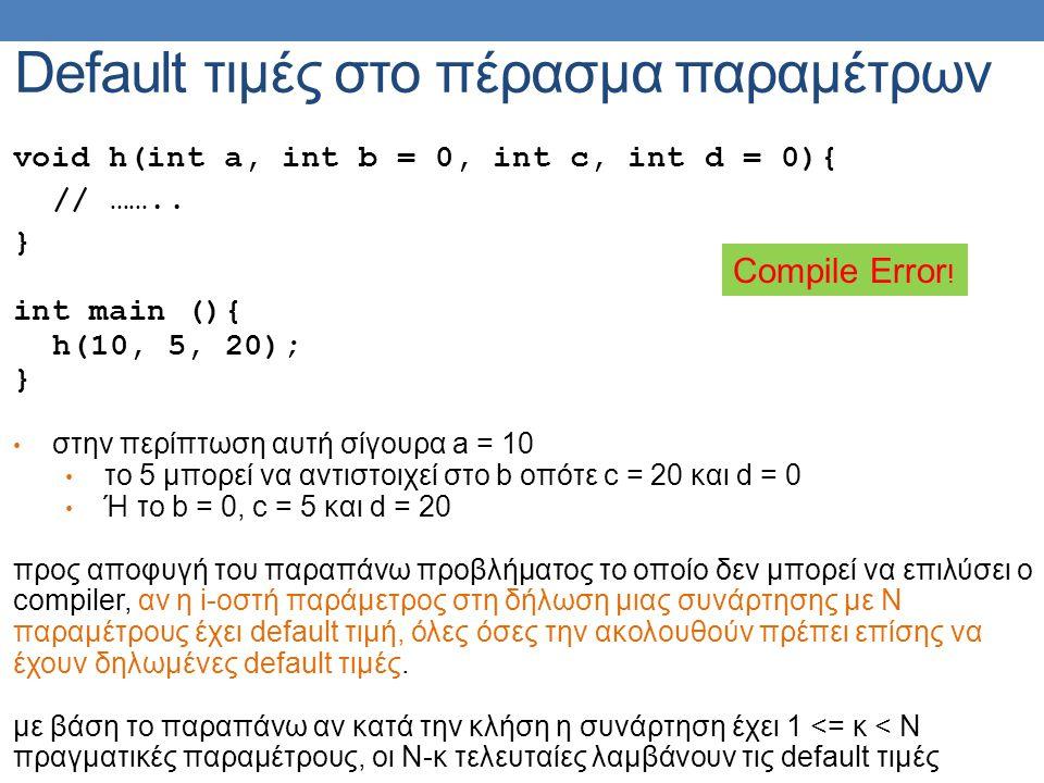 Default τιμές στο πέρασμα παραμέτρων void h(int a, int b = 0, int c, int d = 0){ // ……..