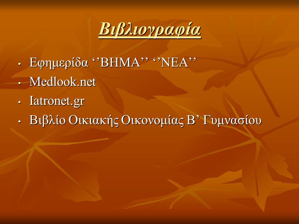 Βιβλιογραφία Εφημερίδα ''ΒΗΜΑ'' ''ΝΕΑ'' Εφημερίδα ''ΒΗΜΑ'' ''ΝΕΑ'' Medlook.net Medlook.net Iatronet.gr Iatronet.gr Βιβλίο Οικιακής Οικονομίας Β' Γυμνα