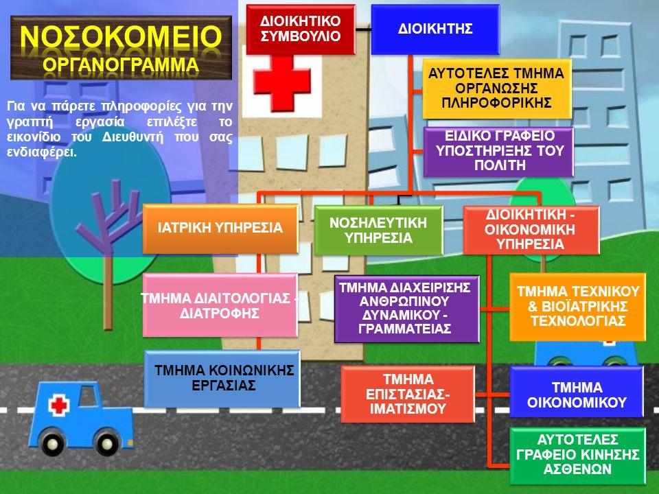 ΔΙΟΙΚΗΤΗΣ Περιεχόμενα 4 ου κεφαλαίου 1.Περιγραφή του Νοσοκομείου (από τον Οργανισμό) (Νομική μορφή- Επωνυμία-Έδρα- Σφραγίδα, Σκοπός, Όργανα Διοίκησης, Δύναμη κλινών, Διάκριση υπηρεσιών (συνοπτικά))Οργανισμό 2.Χρονοδιάγραμμα εργασιώνΧρονοδιάγραμμα εργασιών 3.Έντυπο ΑπόφασηςΈντυπο Απόφασης 4.Προγραμματισμός συναντήσεων με Διευθυντές 5.Κοινοποίηση αποφάσεων στους Διευθυντές Αρμοδιότητες ΔΙΟΙΚΗΤΗΔΙΟΙΚΗΤΗ Πληροφορίες για τις αρμοδιότητες θα βρεις στην παραπάνω υπερσύνδεση στο άρθρο 7 και στο βιβλίο Τεχνολογίας σελ.