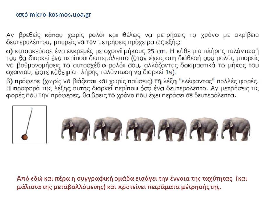 από micro-kosmos.uoa.gr Από εδώ και πέρα η συγγραφική ομάδα εισάγει την έννοια της ταχύτητας (και μάλιστα της μεταβαλλόμενης) και προτείνει πειράματα