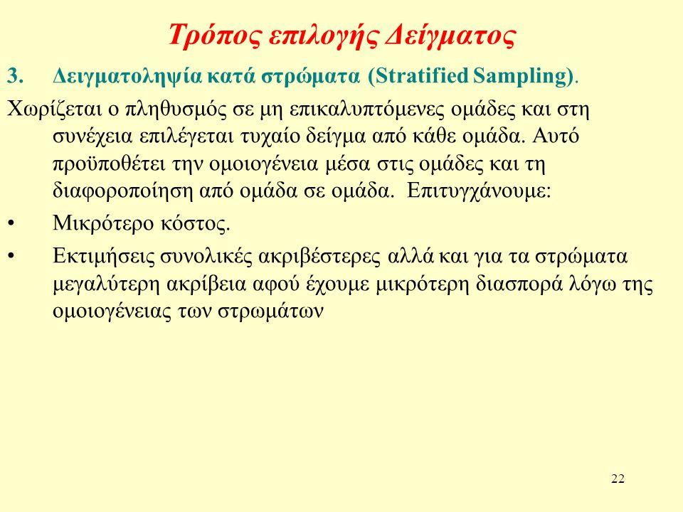 22 Τρόπος επιλογής Δείγματος 3.Δειγματοληψία κατά στρώματα (Stratified Sampling). Χωρίζεται ο πληθυσμός σε μη επικαλυπτόμενες ομάδες και στη συνέχεια
