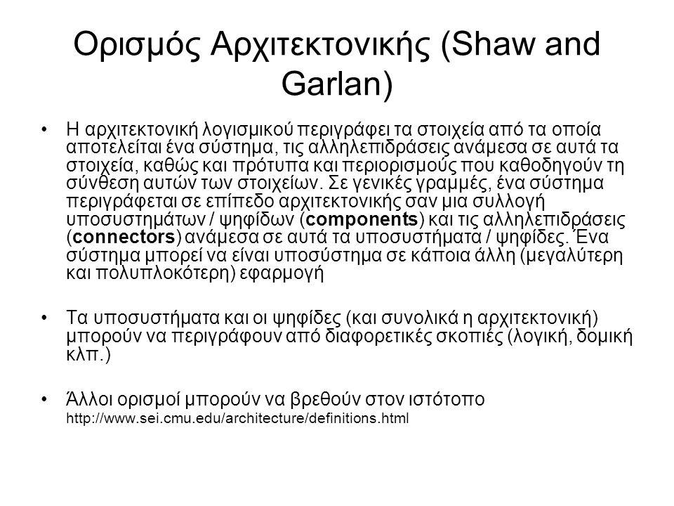 Ορισμός Αρχιτεκτονικής (Shaw and Garlan) Η αρχιτεκτονική λογισμικού περιγράφει τα στοιχεία από τα οποία αποτελείται ένα σύστημα, τις αλληλεπιδράσεις ανάμεσα σε αυτά τα στοιχεία, καθώς και πρότυπα και περιορισμούς που καθοδηγούν τη σύνθεση αυτών των στοιχείων.