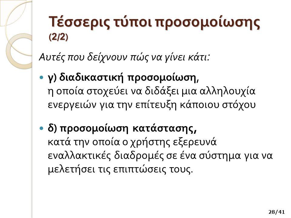 Τέσσερις τύποι προσομοίωσης ( 2 / 2 ) Αυτές που δείχνουν πώς να γίνει κάτι : γ ) διαδικαστική προσομοίωση, η οποία στοχεύει να διδάξει μια αλληλουχία