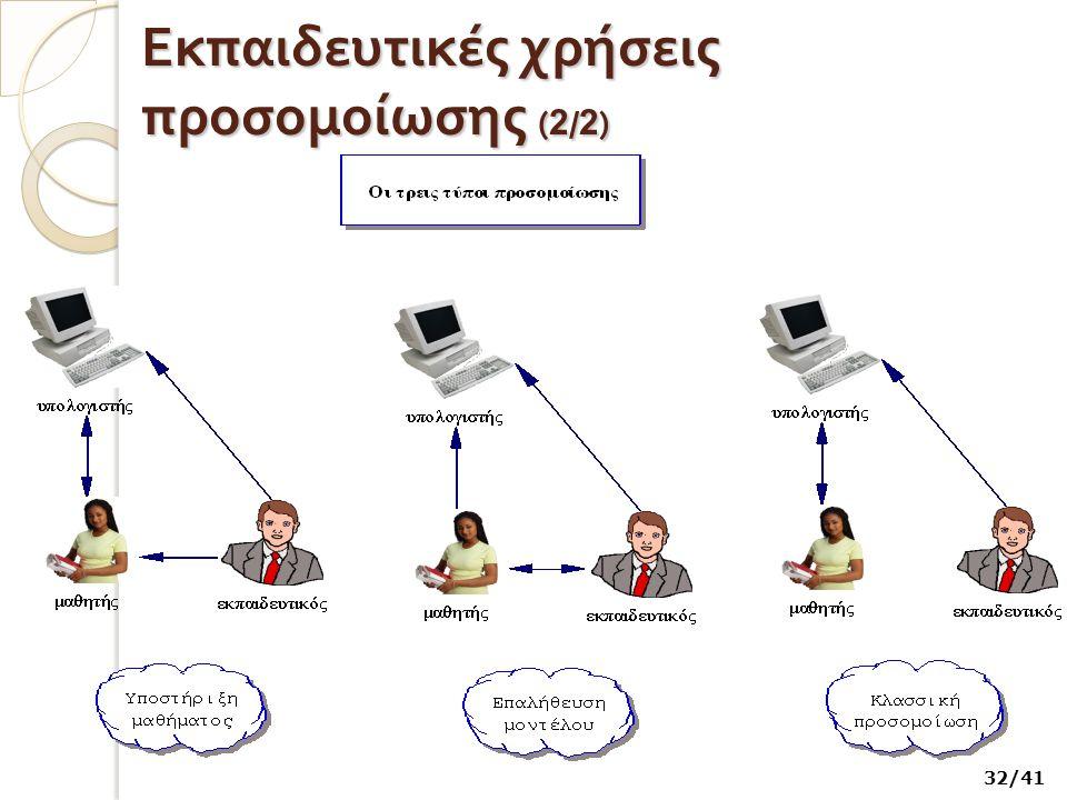 Εκπαιδευτικές χρήσεις προσομοίωσης ( 2 / 2 ) 32/41