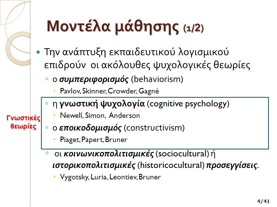 Μοντέλα μάθησης ( 2 / 2 ) Συμπεριφοριστικές θεωρίες Γνωστικές θεωρίες Κοινωνικοπολιτισμικές θεωρίες Γραμμική Οργάνωση Πληροφορίας (Skinner) Δομικός εποικοδομισμός (Piaget) Κοινωνικός εποικοδομισμός Μέθοδος πολλαπλών Επιλογών (Crowder) Εποικοδομισμός του Papert (constructionism) Κοινωνικοπολιτισμική θεωρία του Vygotsky Διδακτικός Σχεδιασμός (Gagné) Ανακαλυπτική μάθηση (Bruner) Εγκαθιδρυμένη γνώση (situated cognition) Επεξεργασία της πληροφορίας (γνωστικοί ψυχολόγοι) Κατανεμημένη γνώση (distributed cognition) Συνδεσιασμός (Varela, Maturana) Θεωρία της δραστηριότητας (επίγονοι της θεωρίας του Vygotsky) 5/41
