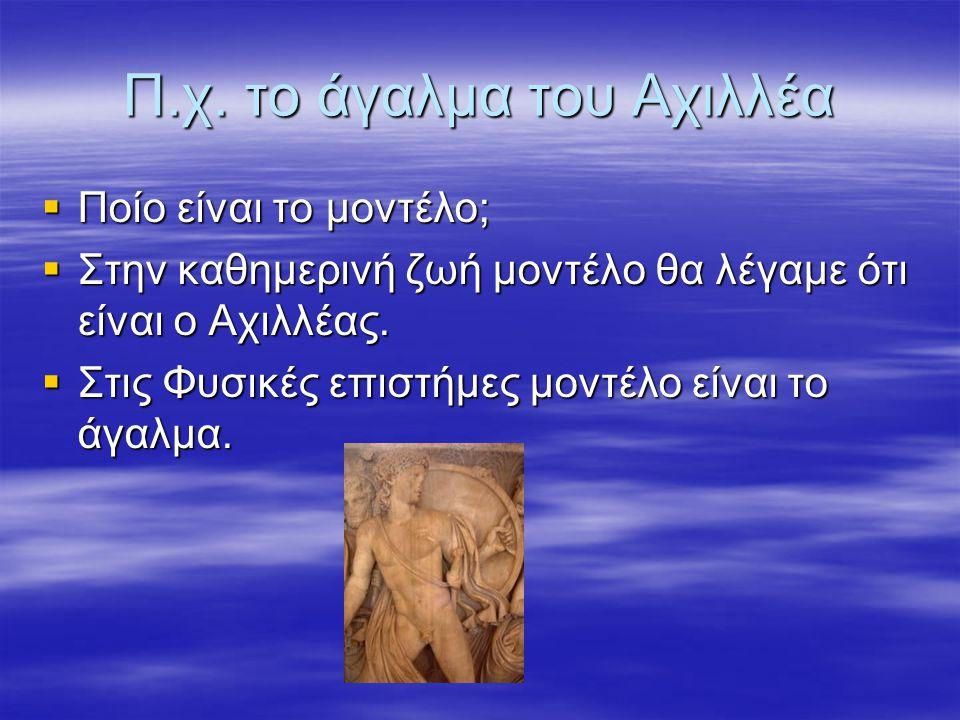 Π.χ. το άγαλμα του Αχιλλέα  Ποίο είναι το μοντέλο;  Στην καθημερινή ζωή μοντέλο θα λέγαμε ότι είναι ο Αχιλλέας.  Στις Φυσικές επιστήμες μοντέλο είν