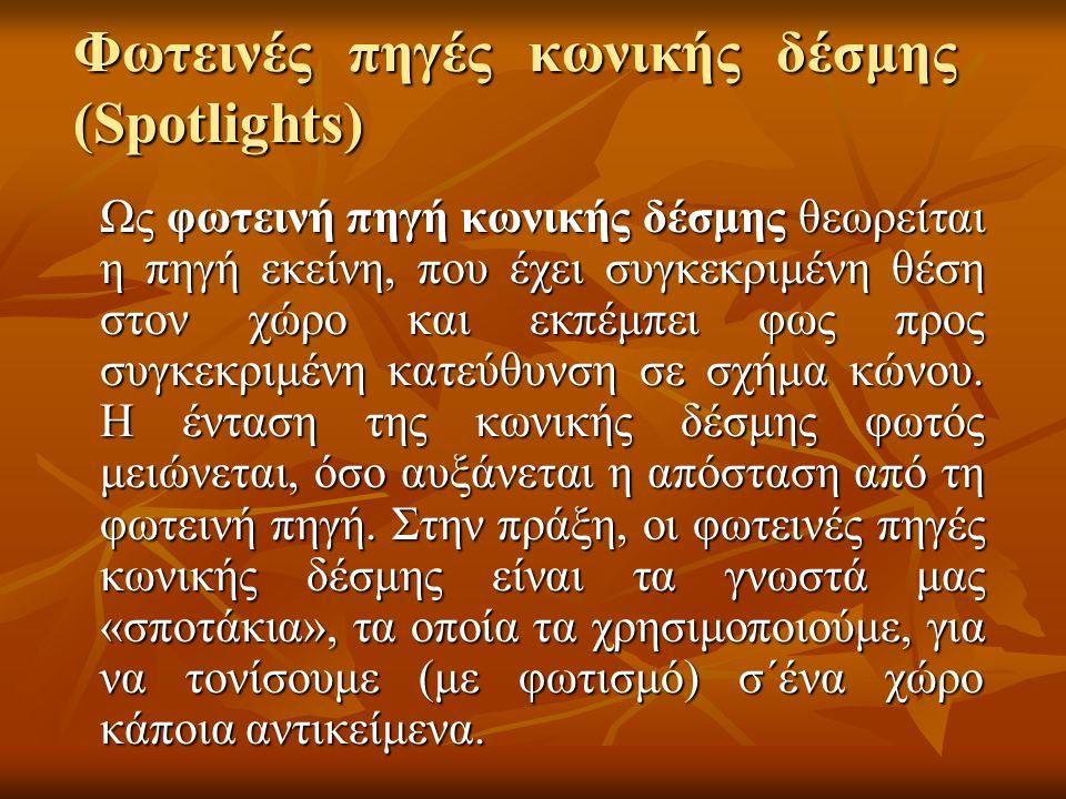 Φωτεινές πηγές κωνικής δέσμης (Spotlights) Ως φωτεινή πηγή κωνικής δέσμης θεωρείται η πηγή εκείνη, που έχει συγκεκριμένη θέση στον χώρο και εκπέμπει φ