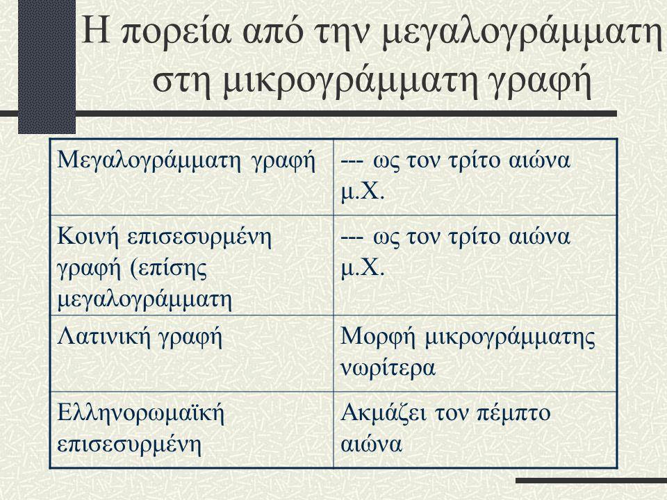 Η πορεία από την μεγαλογράμματη στη μικρογράμματη γραφή Μεγαλογράμματη γραφή--- ως τον τρίτο αιώνα μ.Χ.
