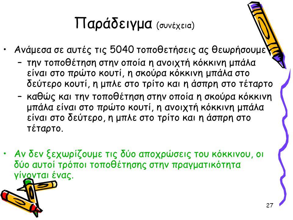 27 Παράδειγμα (συνέχεια) Ανάμεσα σε αυτές τις 5040 τοποθετήσεις ας θεωρήσουμε –την τοποθέτηση στην οποία η ανοιχτή κόκκινη μπάλα είναι στο πρώτο κουτί