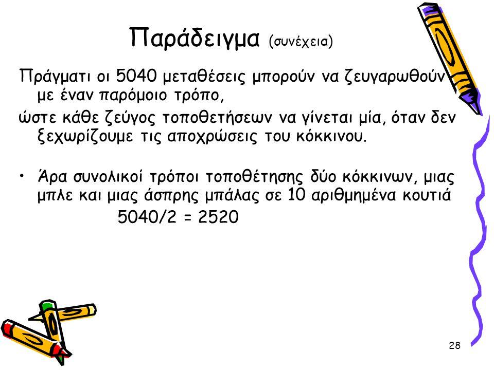 28 Παράδειγμα (συνέχεια) Πράγματι οι 5040 μεταθέσεις μπορούν να ζευγαρωθούν με έναν παρόμοιο τρόπο, ώστε κάθε ζεύγος τοποθετήσεων να γίνεται μία, όταν