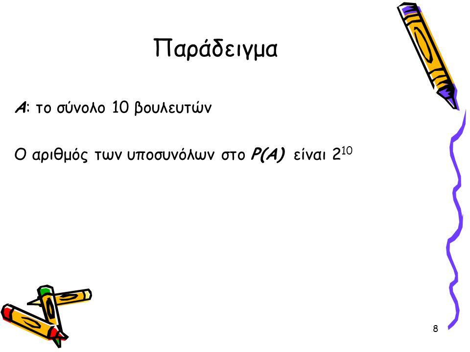 8 Παράδειγμα Α: το σύνολο 10 βουλευτών Ο αριθμός των υποσυνόλων στο P(A) είναι 2 10