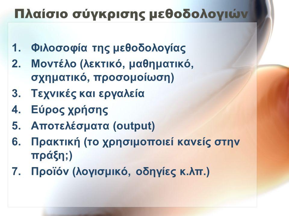 Πλαίσιο σύγκρισης μεθοδολογιών 1.Φιλοσοφία της μεθοδολογίας 2.Μοντέλο (λεκτικό, μαθηματικό, σχηματικό, προσομοίωση) 3.Τεχνικές και εργαλεία 4.Εύρος χρήσης 5.Αποτελέσματα (output) 6.Πρακτική (το χρησιμοποιεί κανείς στην πράξη;) 7.Προϊόν (λογισμικό, οδηγίες κ.λπ.)