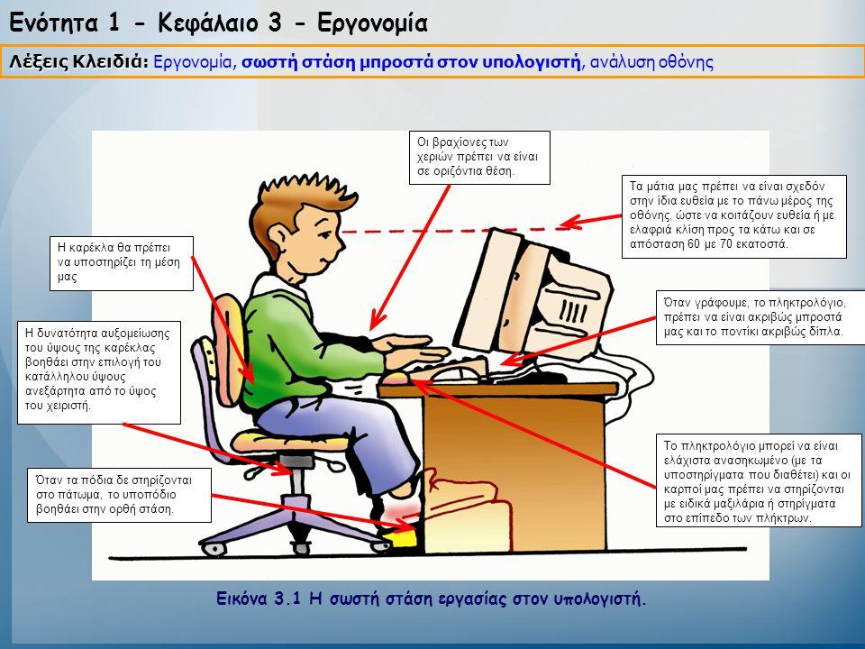 Ενότητα 1 - Κεφάλαιο 3 - Εργονομία Η καρέκλα θα πρέπει να υποστηρίζει τη μέση μας Οι βραχίονες των χεριών πρέπει να είναι σε οριζόντια θέση. Η δυνατότ