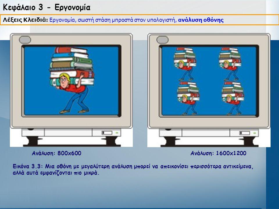 Κεφάλαιο 3 - Εργονομία Ανάλυση: 800x600 Ανάλυση: 1600x1200 Εικόνα 3.3: Μια οθόνη με μεγαλύτερη ανάλυση μπορεί να απεικονίσει περισσότερα αντικείμενα,